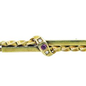 Ruby & Diamond Bar Brooch AJ15630
