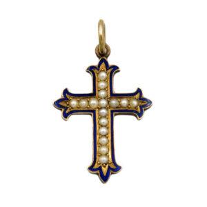 Pearl & Enamel Cross AJ15890
