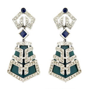Diamond, Sapphire & Green Agate Earrings AJA70