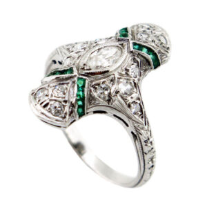 Diamond & Emerald Ring AJ15637