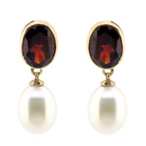 Garnet & Pearl Earrings MJ10943