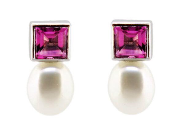 Pink Topaz & Pearl Earrings MJ11511B