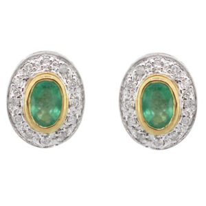 Emerald & Diamond Stud Earrings MJ11513