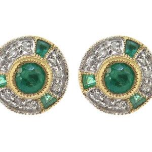 Emerald & Diamond Stud Earrings MJ12625