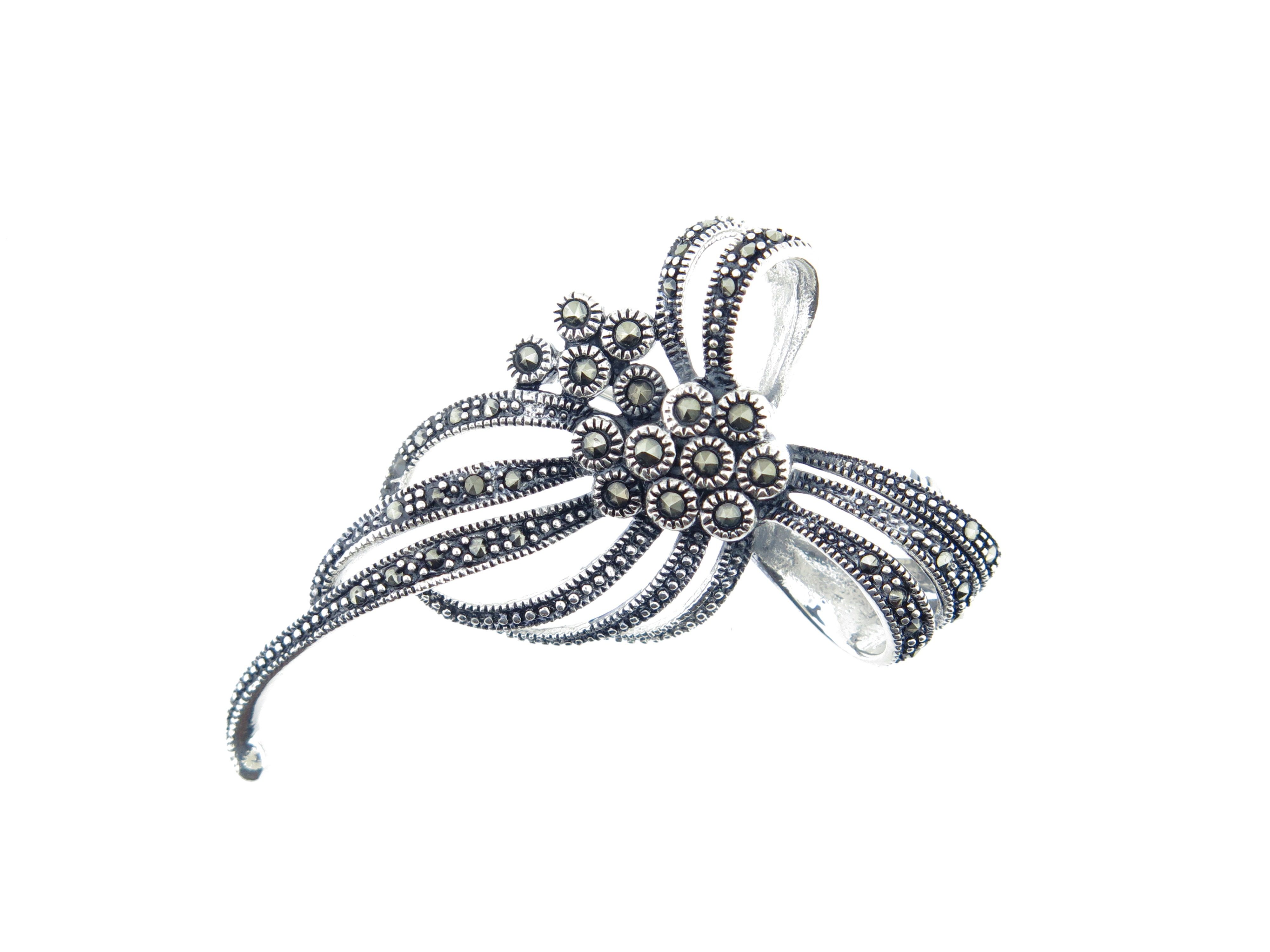Marcasite Bow Brooch MJ12829