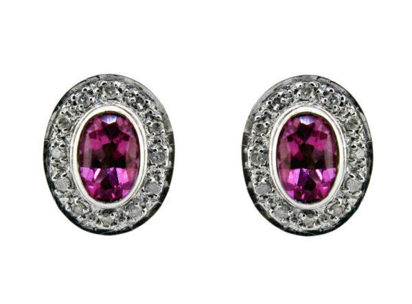 Pink Topaz & Diamond Stud Earrings MJ12917A