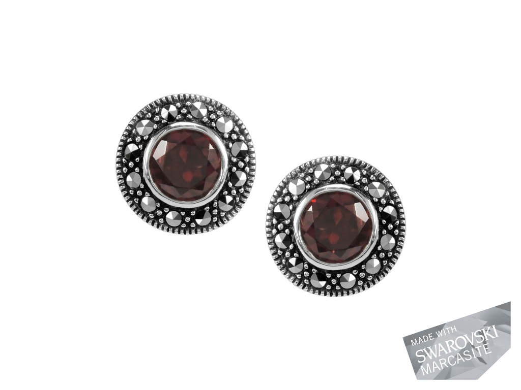 Garnet Stud Earrings MJ13002
