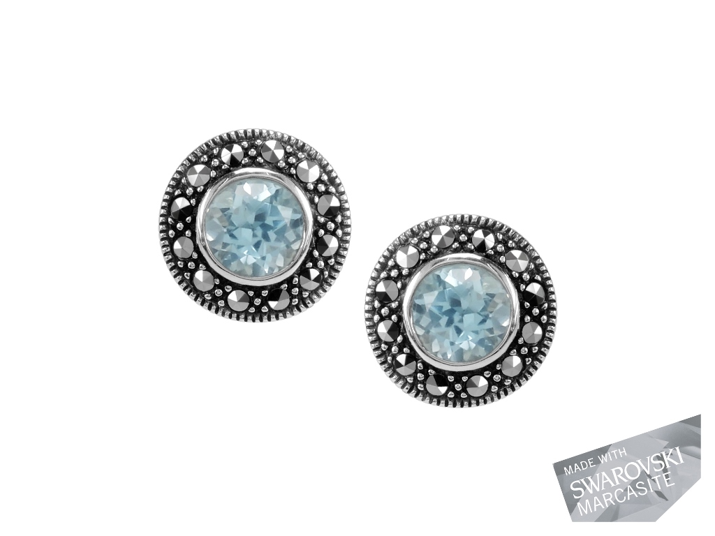 Blue Topaz Stud Earrings MJ13003