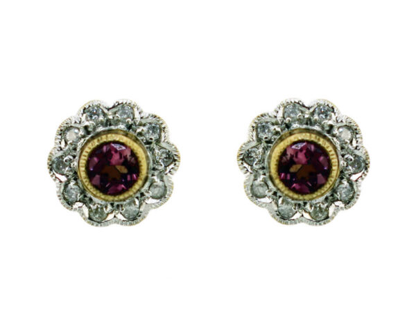 Pink Tourmaline & Diamond Earrings MJ13758