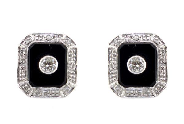 Onyx & Diamond Stud Earrings MJ13764