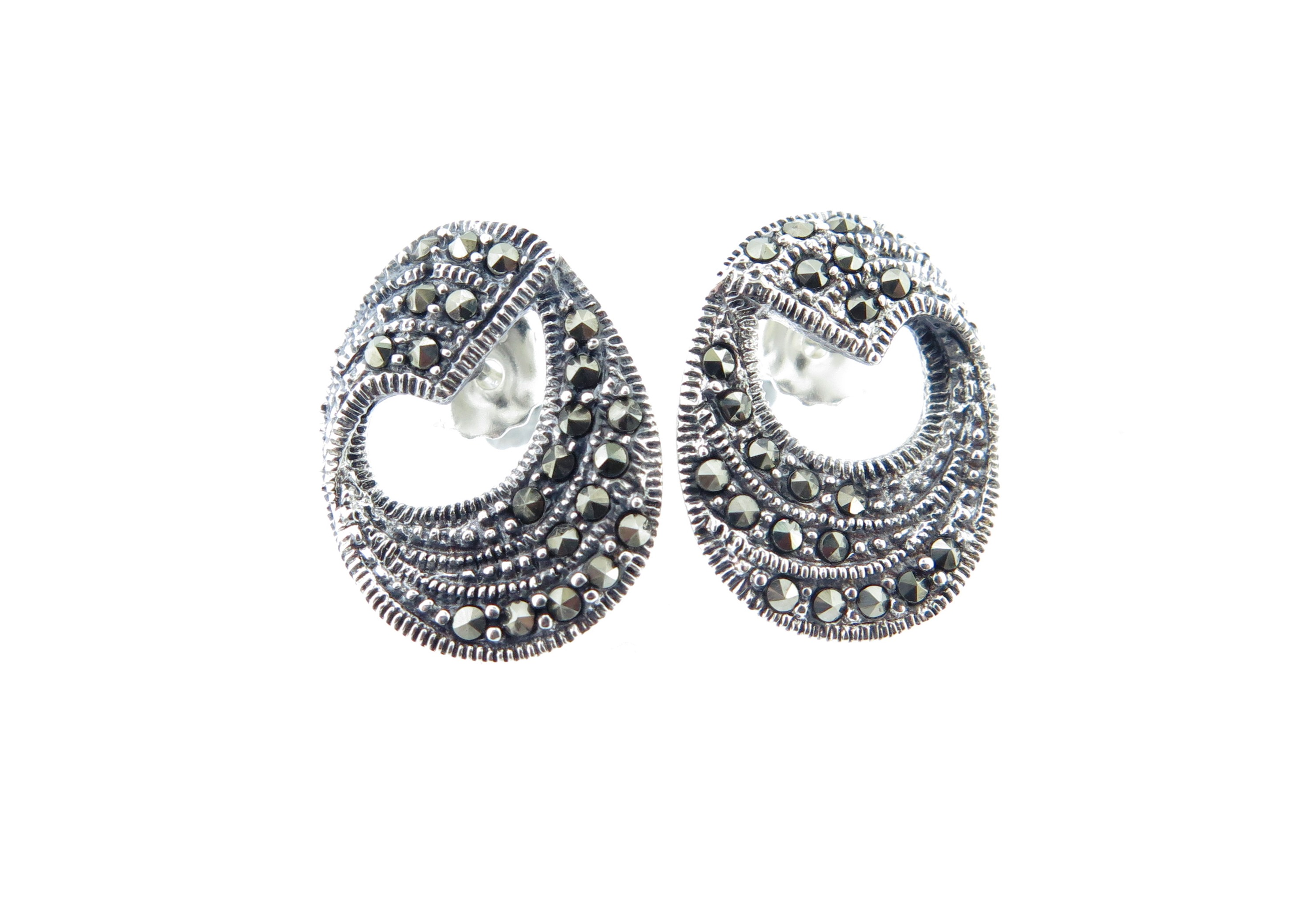 Marcasite Stud Earrings MJ14179
