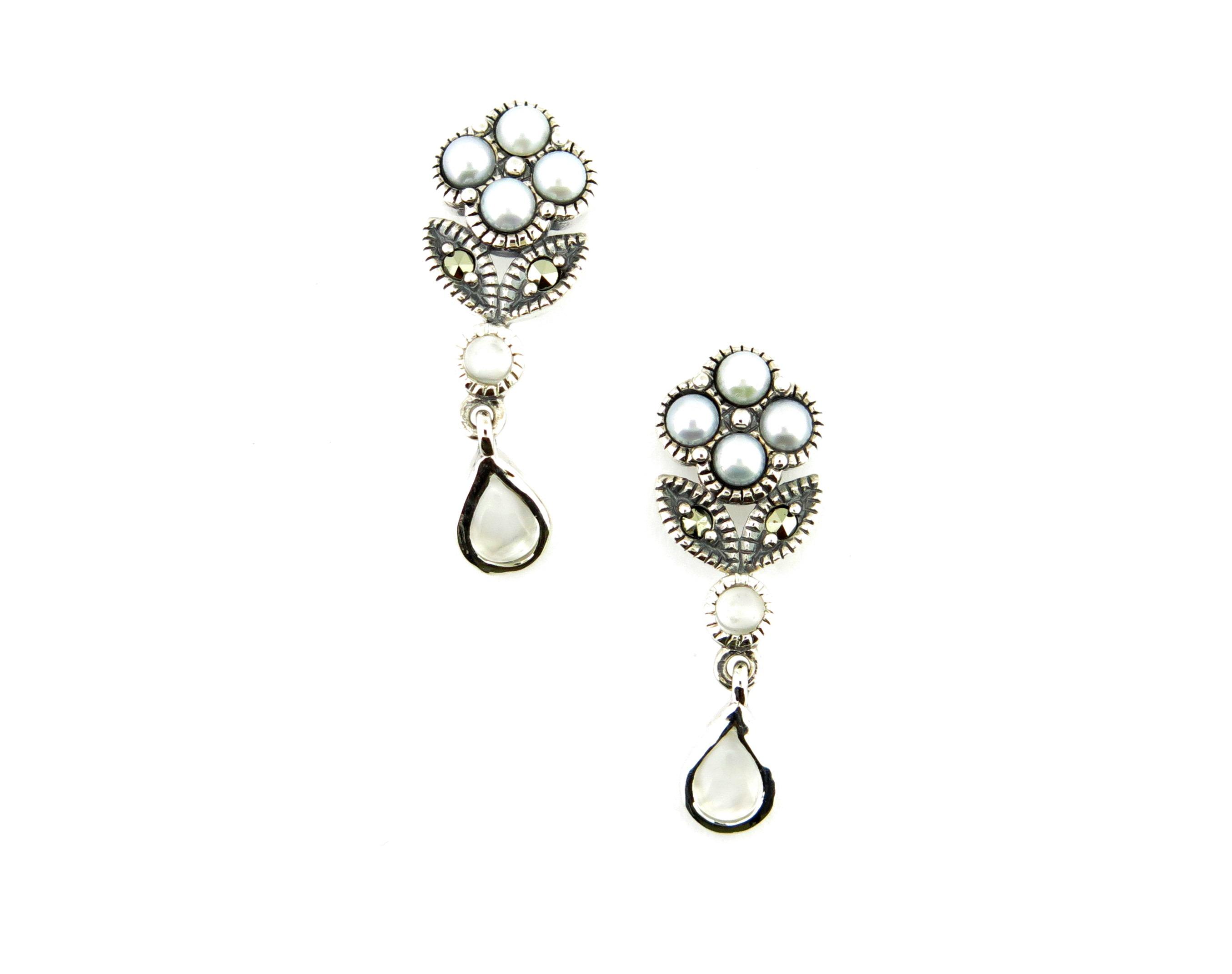 Moonstone & Seed Pearl Earrings MJ14203