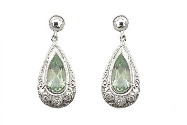 Green Amethyst & Diamond Earrings MJ14589