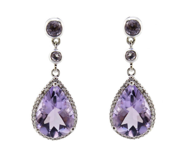 Amethyst & Diamond Earrings MJ14850