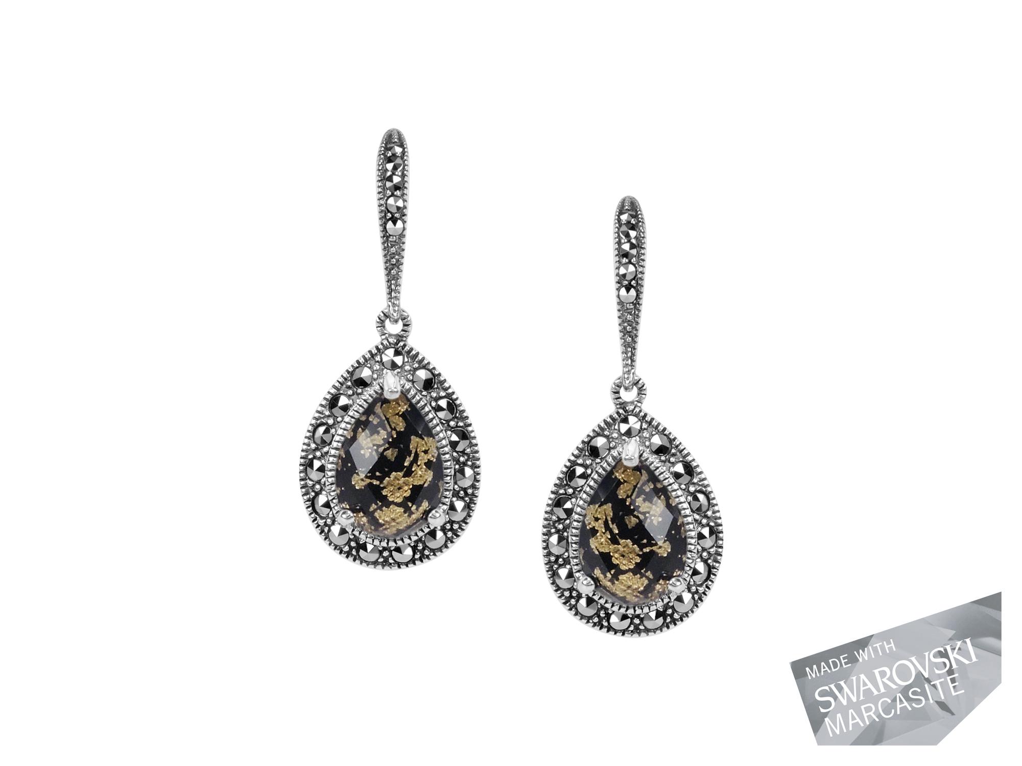 Onyx & Gold Leaf Doublet Earrings MJ15041