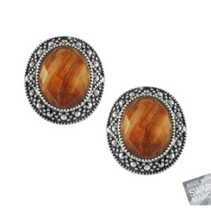 Red Tiger's Eye & Crystal Doublet Earrings MJ15086