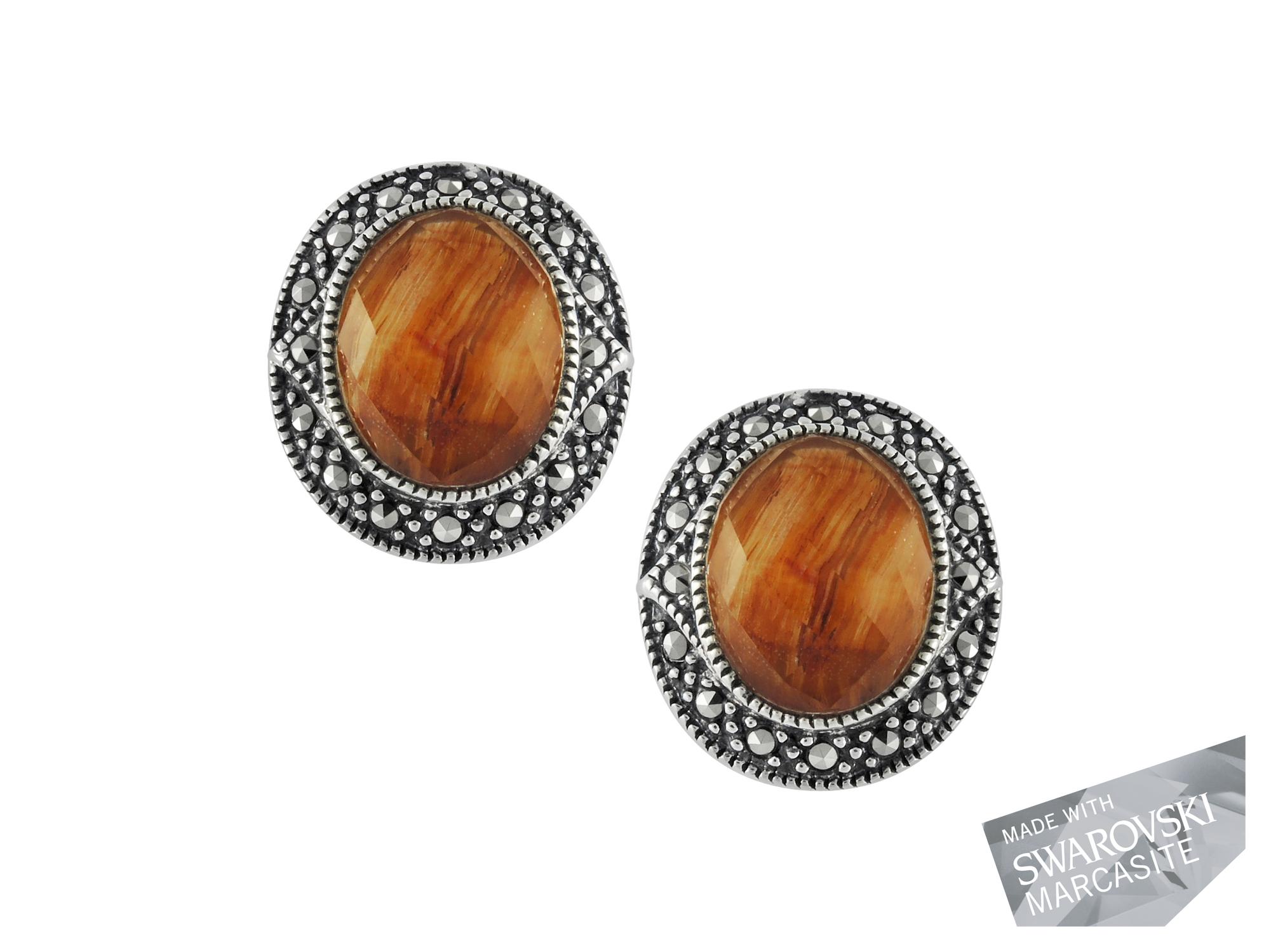 Red Tiger's Eye & Crystal Doublet Earrings MJ15086