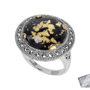 Onyx, Gold Leaf & Crystal Doublet Ring MJ15141