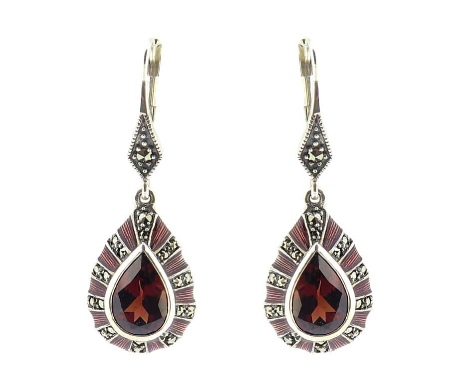 Garnet & Enamel Earrings MJ15919