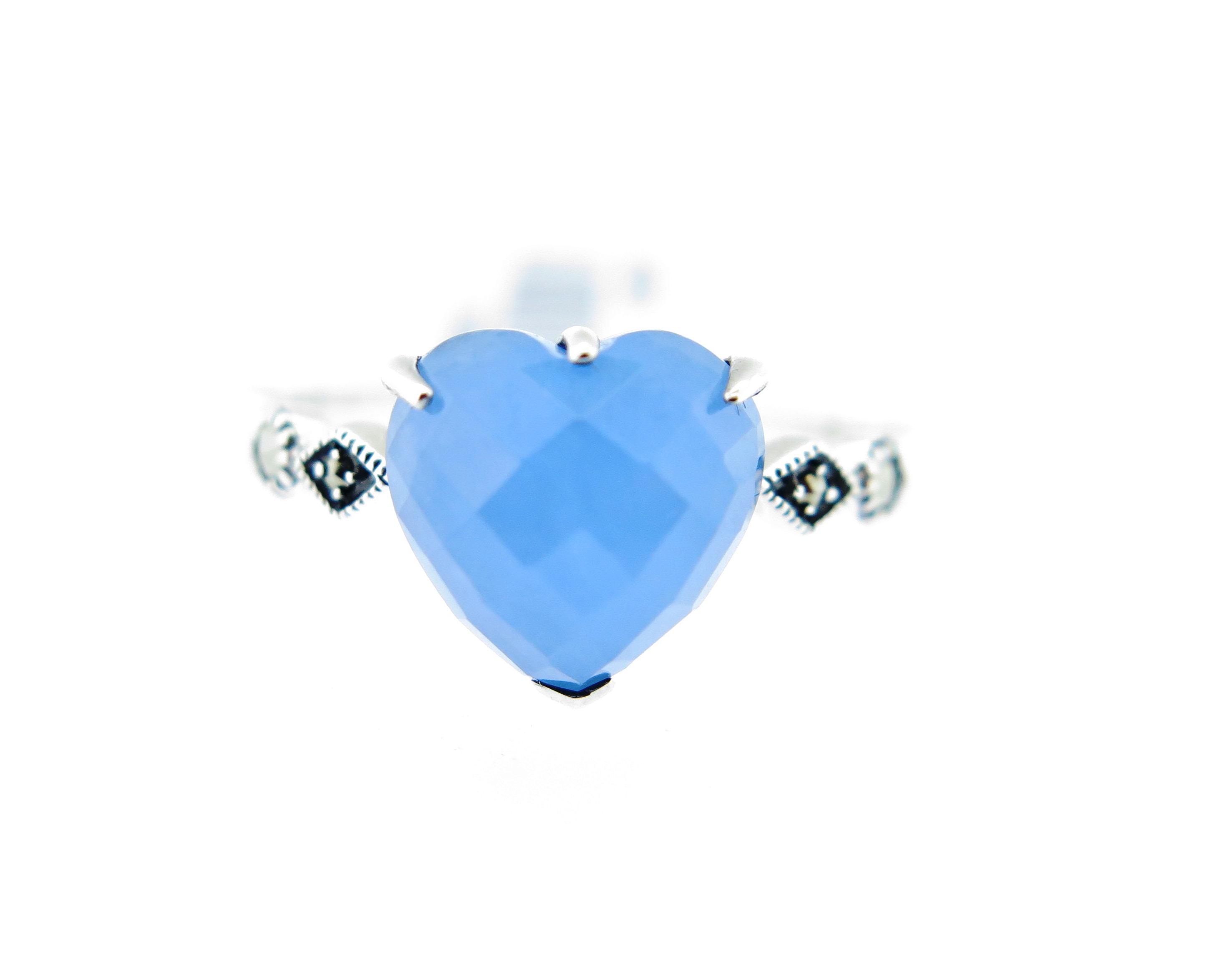 Blue Jade Heart Ring MJ15992