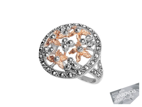 Floral Marcasite Ring with Rose Gold Plating MJ16141