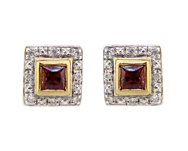 Garnet & Diamond Stud Earrings MJ16217