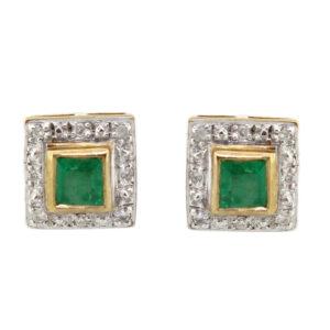 Emerald & Diamond Stud Earrings MJ16221