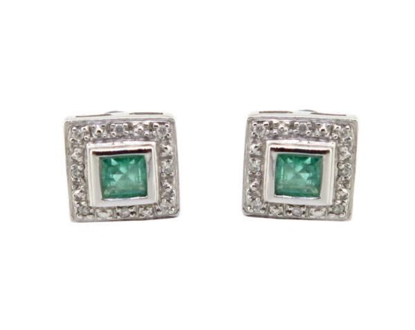 Emerald & Diamond Stud Earrings MJ16221A