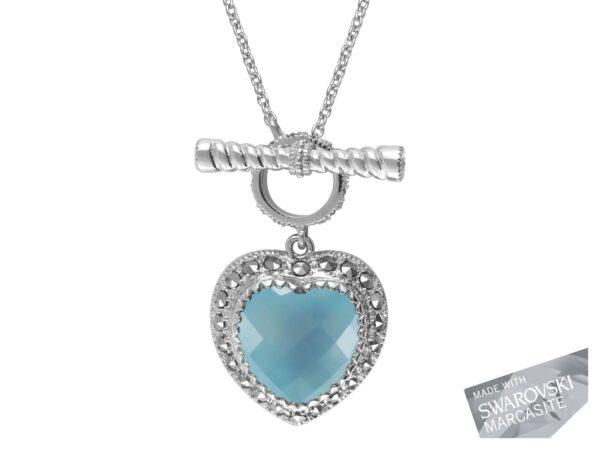 Blue Chalcedony Heart Necklace MJ16795