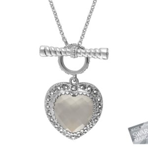 White Chalcedony Heart Necklace MJ16797