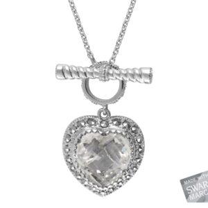 Clear Quartz Heart Necklace MJ16802