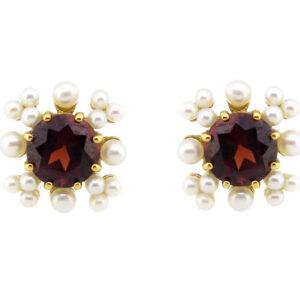 Garnet & Pearl Stud Earrings MJ17307
