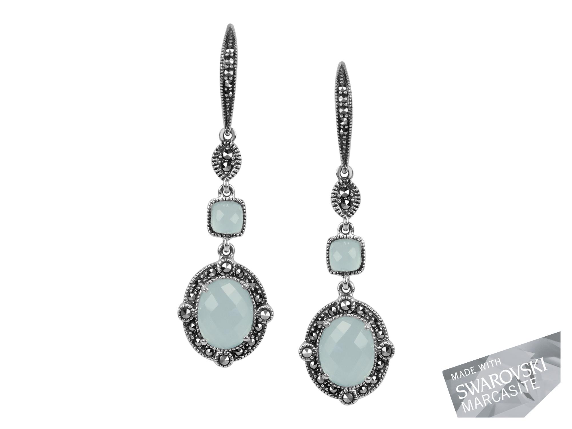 Blue Chalcedony & Rock Crystal Doublet Earrings MJ17804