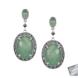 Green Aventurine & Rock Crystal Doublet Earrings MJ17816