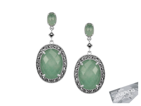 Green Aventurine & Rock Crystal Doublet Earrings MJ17816