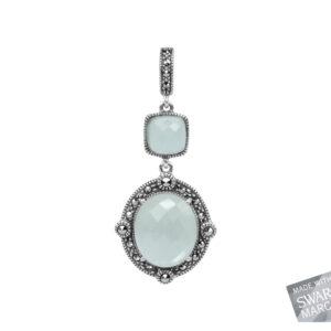 Blue Chalcedony & Rock Crystal Doublet Pendant MJ17848