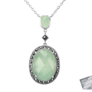 Green Aventurine & Rock Crystal Doublet Necklace MJ17853