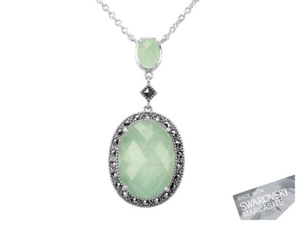 Green Aventurine & Rock Crystal Doublet Necklace MJ17853