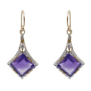 Amethyst & Diamond Earrings MJ17998