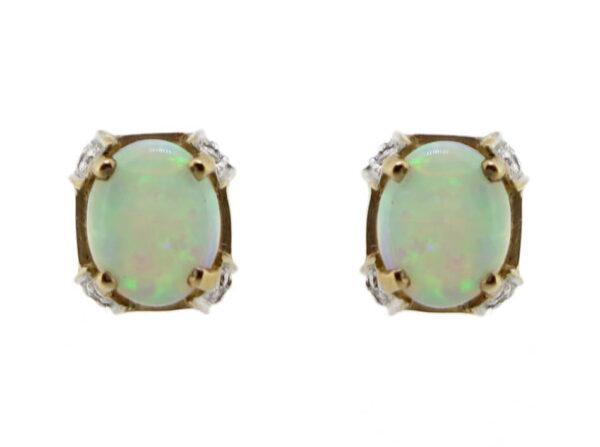 Opal & Diamond Stud Earrings MJ18006