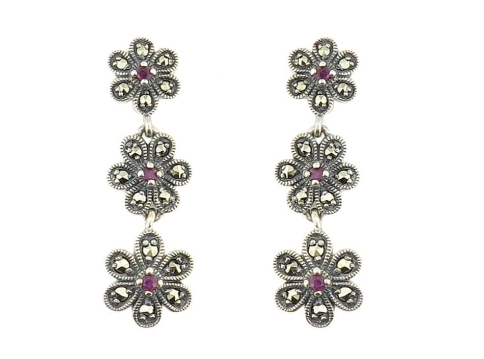 Ruby Flower Drop Earrings MJ18693