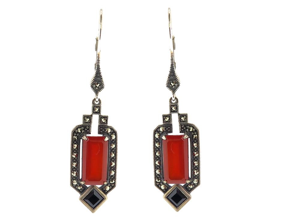 Carnelian & Black Spinel Earrings MJ18724