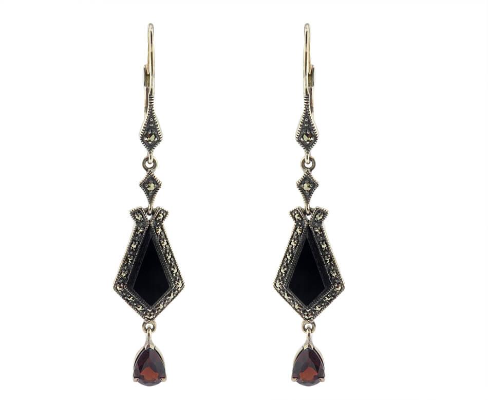 Onyx & Garnet Earrings MJ18726