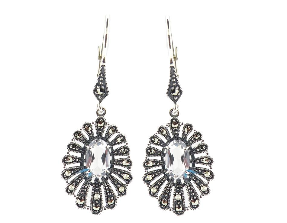 Silver Topaz Hook Earrings MJ18768