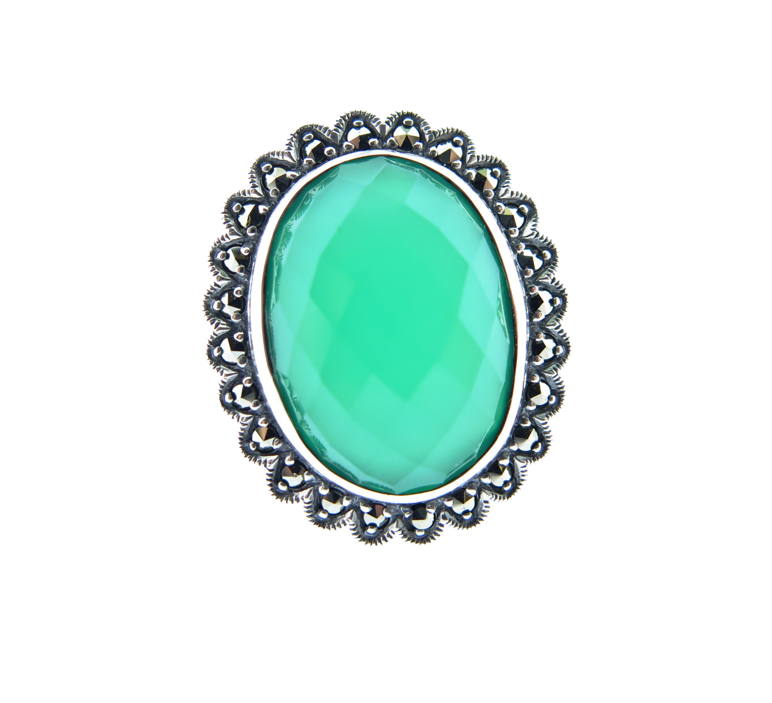 Dyed Green Chalcedony Ring MJ18826