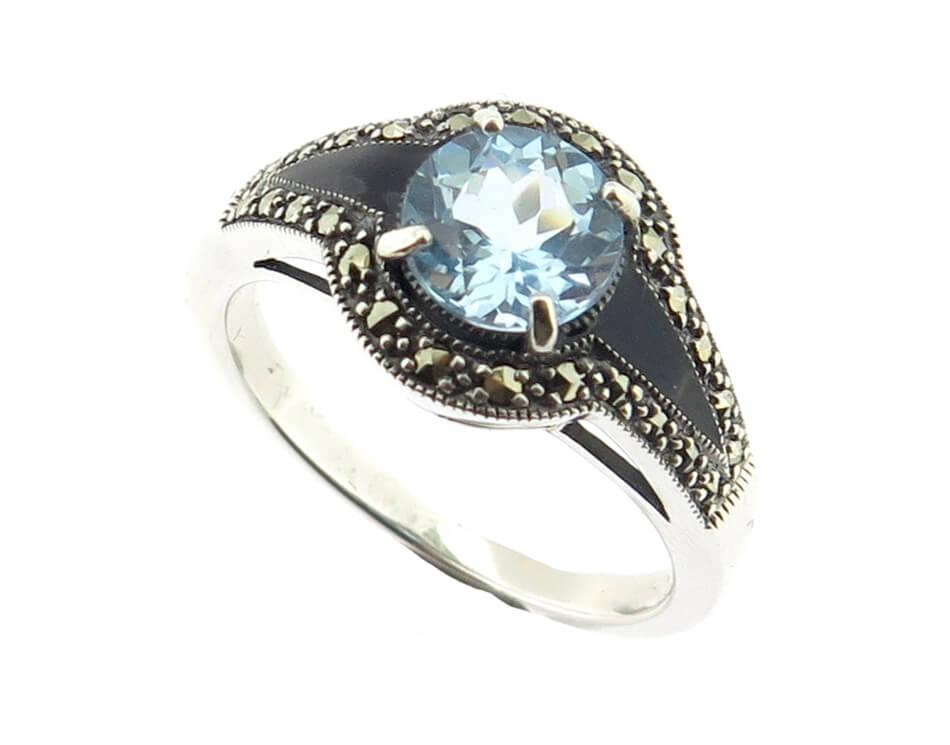 Blue Topaz & Enamel Ring MJ18852