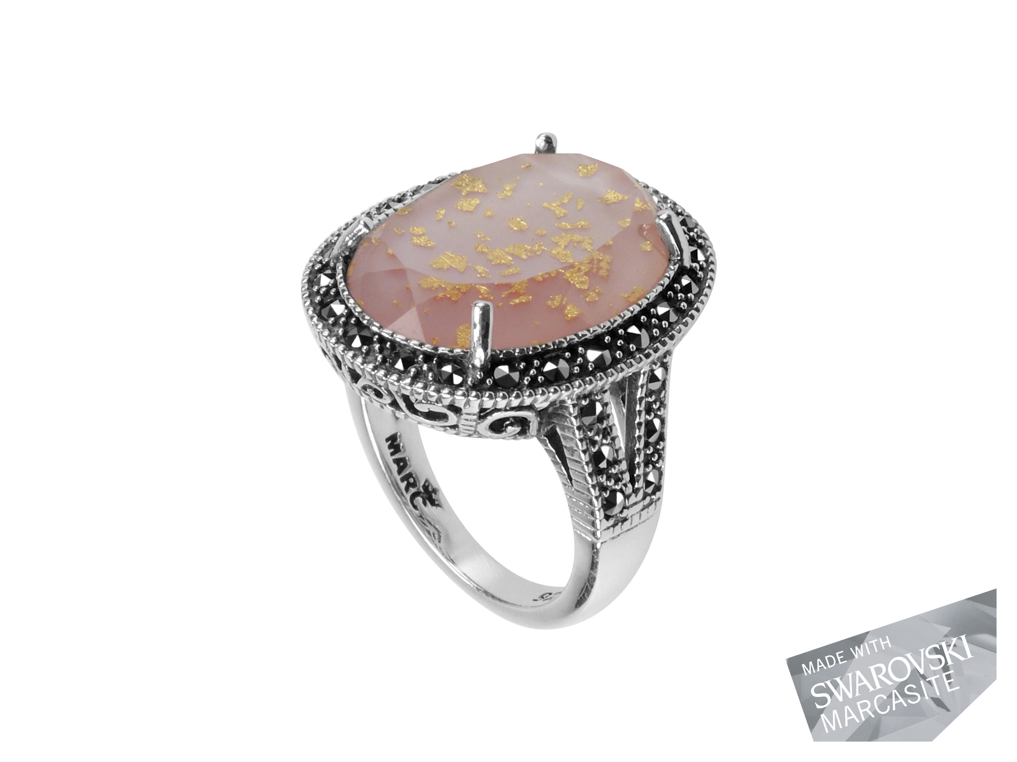Pink Mother-of-Pearl & Gold Leaf Ring MJ18869