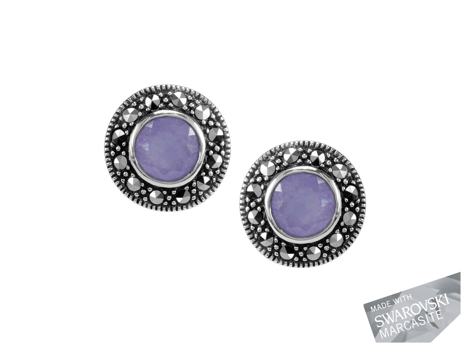 Lavender Chalcedony Stud Earrings MJ18873