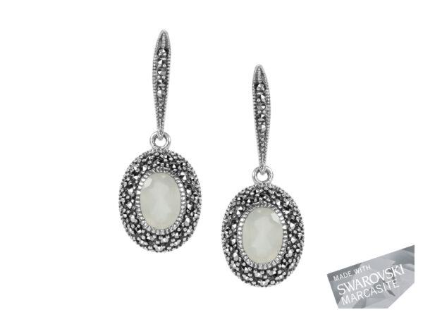 White Chalcedony Hook Earrings MJ18879
