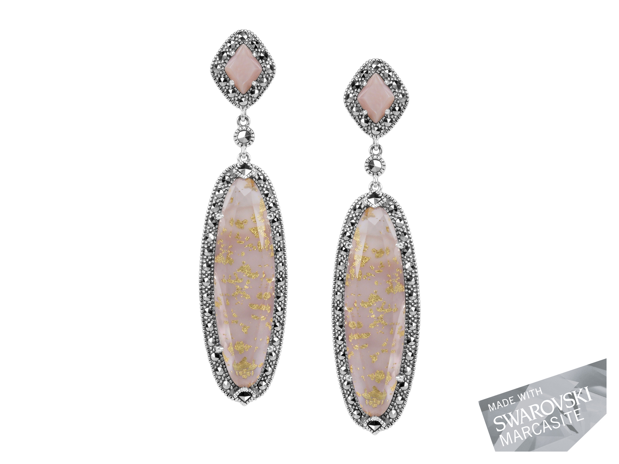 Pink Mother-of-Pearl & Gold Leaf Earring MJ18880